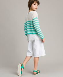 """Striped jumper and lace top """"Island Paradise"""" Light Blue / Off White Striping Child 191GJ3080-04"""