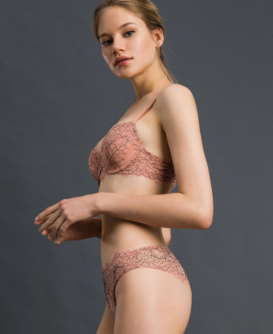 Slip brasiliana in pizzo e tulle Peach Rose / Nero Donna 192LI6477-02