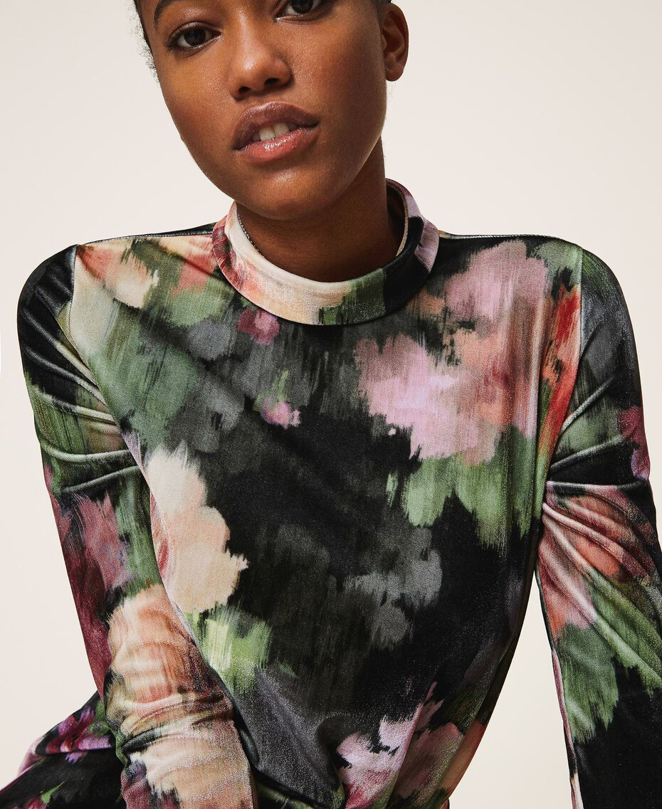 "Floral velvet sheath dress Black / ""Peach Pearl"" Floral Print Woman 202TT2361-01"