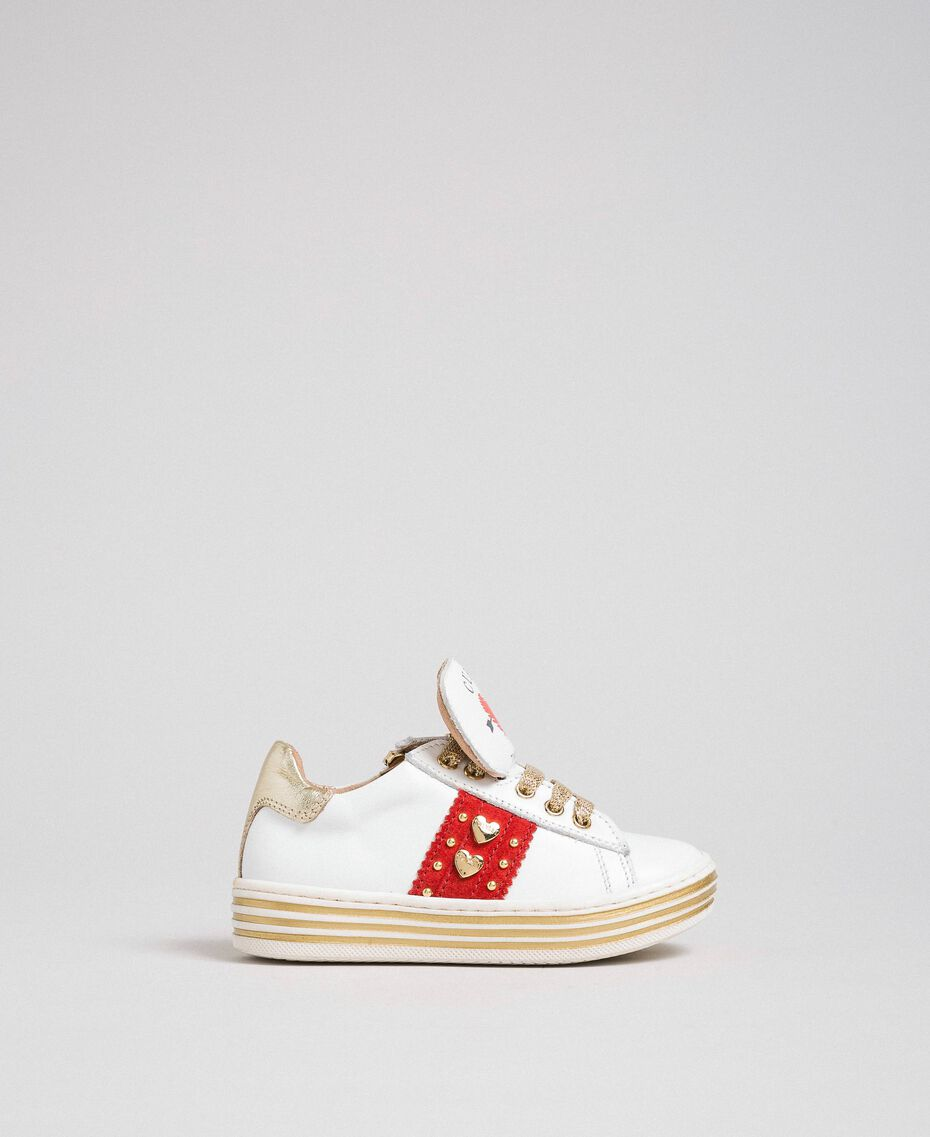 Leather trainers with hearts and studs White Child 192GCB026-03