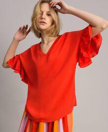 Bluse aus Seidenmischung Rote Grenadine Frau 191TT2075-02
