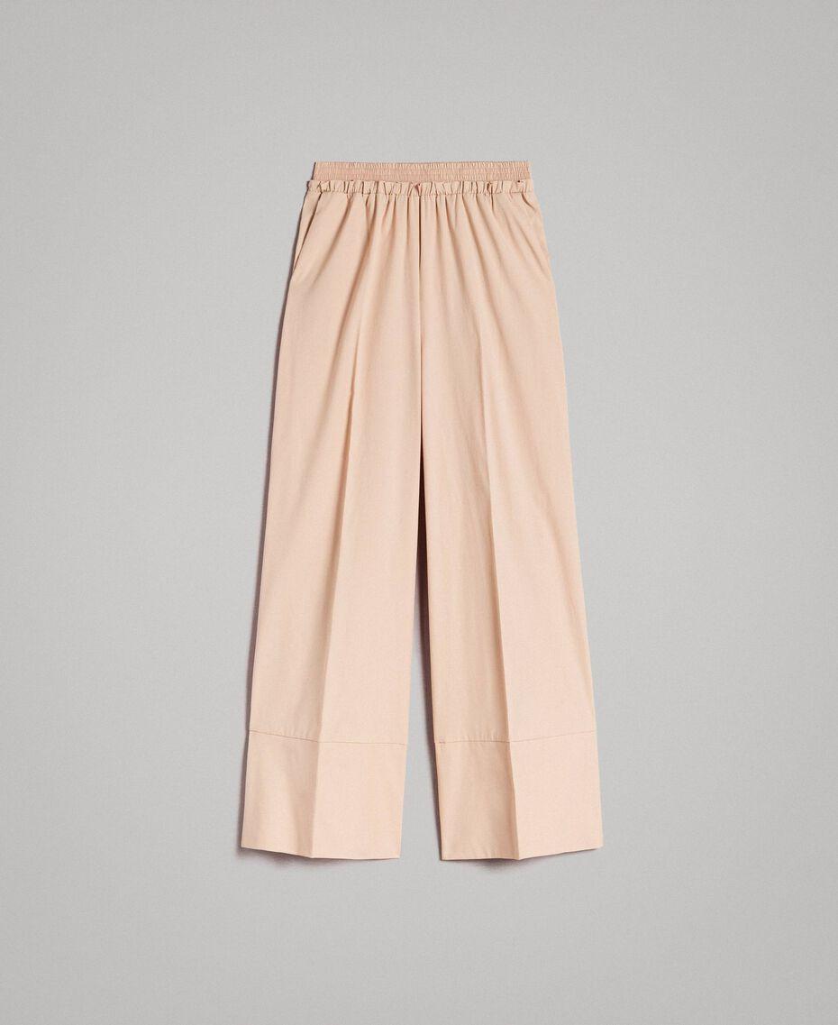 "Pantaloni a palazzo in popeline Beige ""Marzapane"" Donna 191TT223C-0S"
