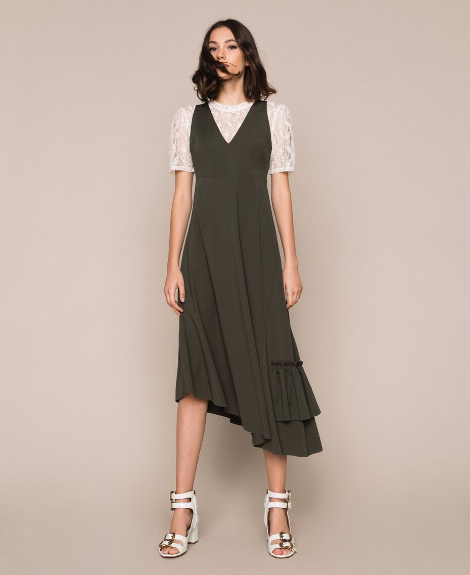 Long asymmetric dress with flounce Elm Green Woman 201ST2142-01