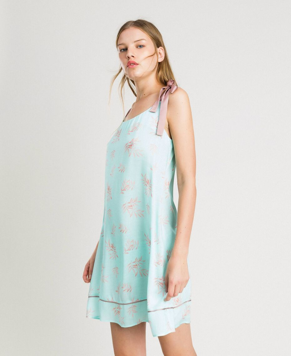 Floral jacquard nightgown Mousse Blue Leaf Print Woman 191LL2FAA-02