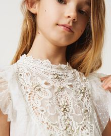 Tulle and muslin dress with embroidery Off White Child 211GJ2Q3B-04