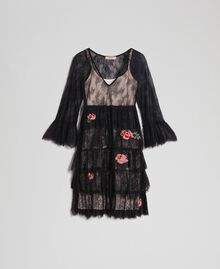 Valenciennes lace dress with floral embroidery Black Woman 192TP2586-0S
