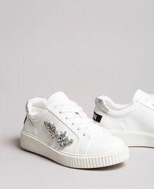 Kunstleder-Sneakers mit Steinen White Sahne Frau 191MCP032-01