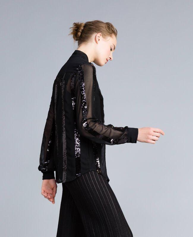 Chemise en crêpe georgette avec paillettes Noir Femme PA82J2-03