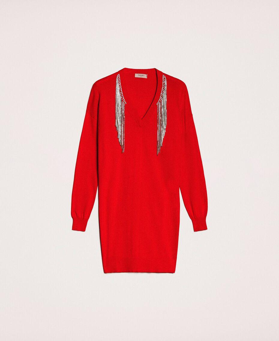 Vestido con flecos de estrás Rojo «Lava» Mujer 201TP3080-0S