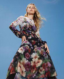 Длинное платье из жоржета с цветочным рисунком Принт Деграде Цветы Черный / Слоновая кость женщина 202TT2380-01