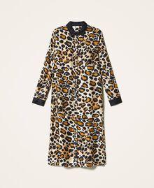 Shirt dress made of animal print satin Animal Print Woman 202LL2EGG-0S
