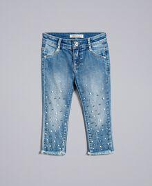 """Jean skinny avec perles et strass Bleu """"Denim Moyen"""" Enfant FA82V1-01"""