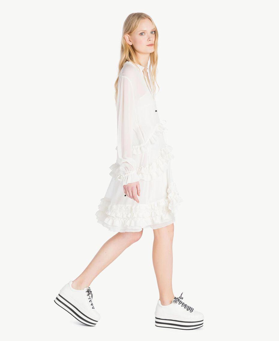 Ruched mini dress Parchment White Woman JS82NC-02
