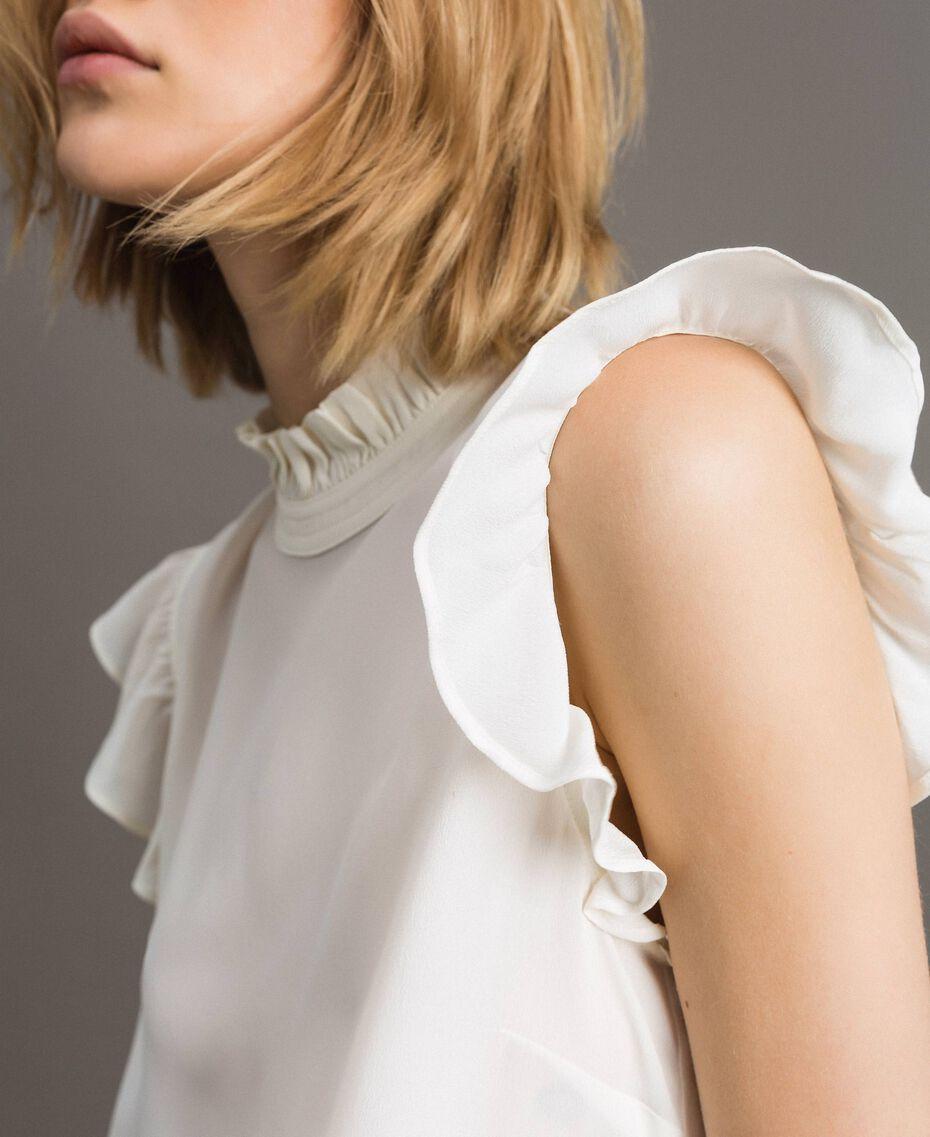 Blusa in misto seta con ruches Bianco Neve Donna 191TT2076-01