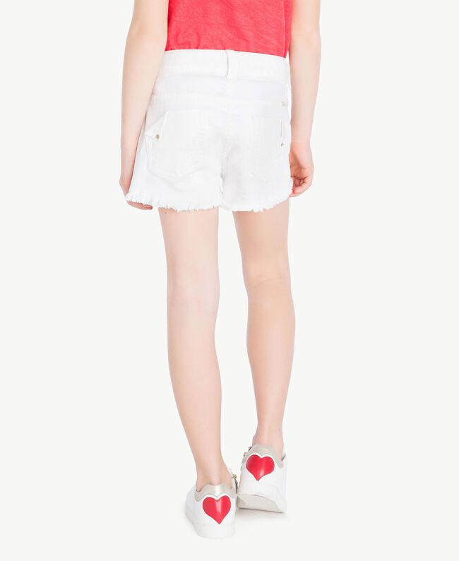"""Frayed shorts """"Papers"""" White Child GS82CB-04"""