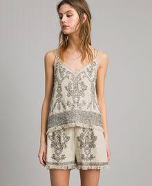"""Top in lino con perline e paillettes Beige """"Sand"""" Donna 191TT2062-04"""