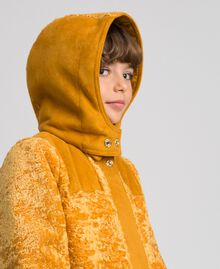 Faux shearling coat with hood Ochre Yellow Child 192GJ2180-05