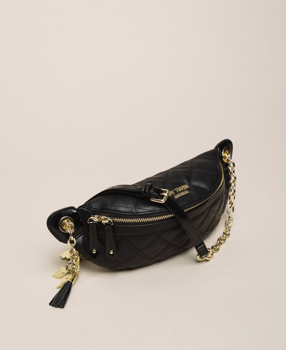 Quilted faux leather belt bag with charms Black Woman 201MA7045-02