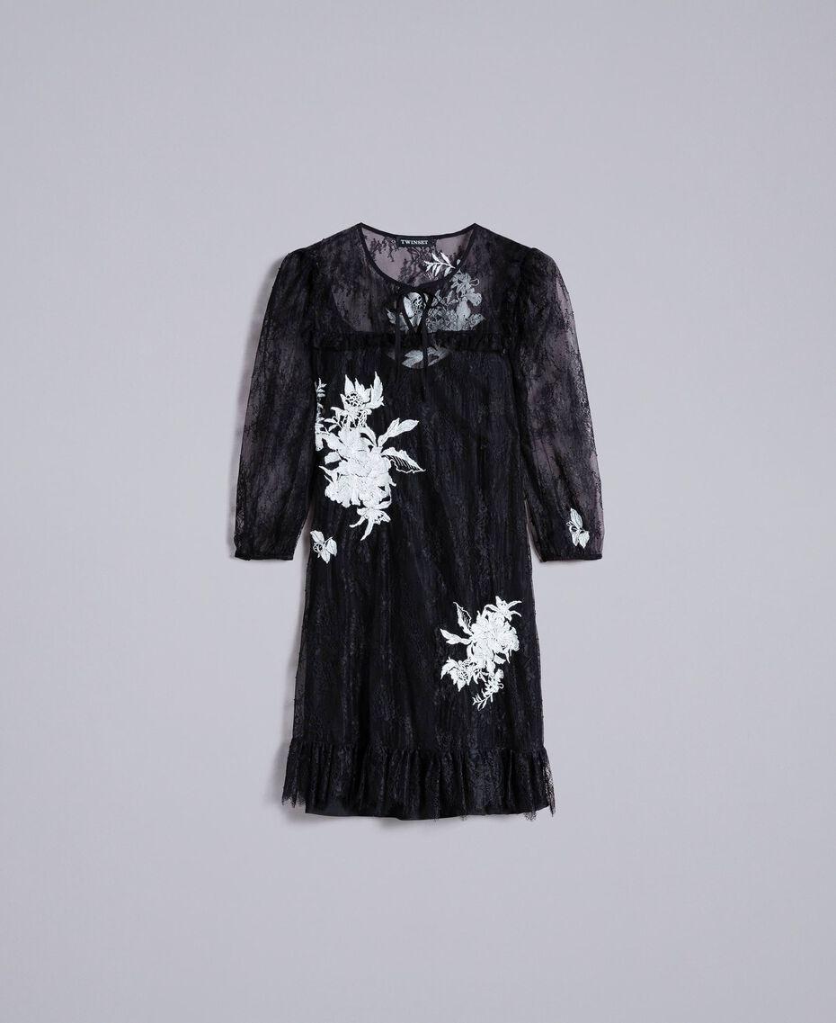Kurzes Kleid aus Valenciennesspitze Schwarz Frau PA824P-0S