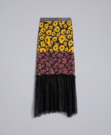 "Gonna in crêpe de Chine stampato Stampa Wind Flower Giallo ""Golden Yellow"" / Bouquet Nero Donna YA82JC-0S"