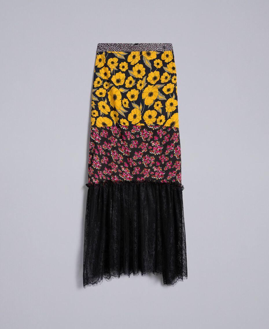 Jupe en crêpe de Chine imprimé Imprimé Anémone Jaune Doré/ Bouquet Noir Femme YA82JC-0S