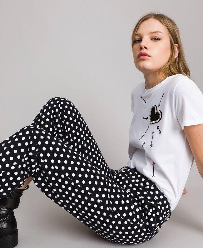 Pantalons cigarette à pois Bicolore Noir / Blanc Femme 191MP2362-01