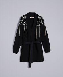 Wool-blend embroidered maxi cardigan Black Woman QA8TJP-0S