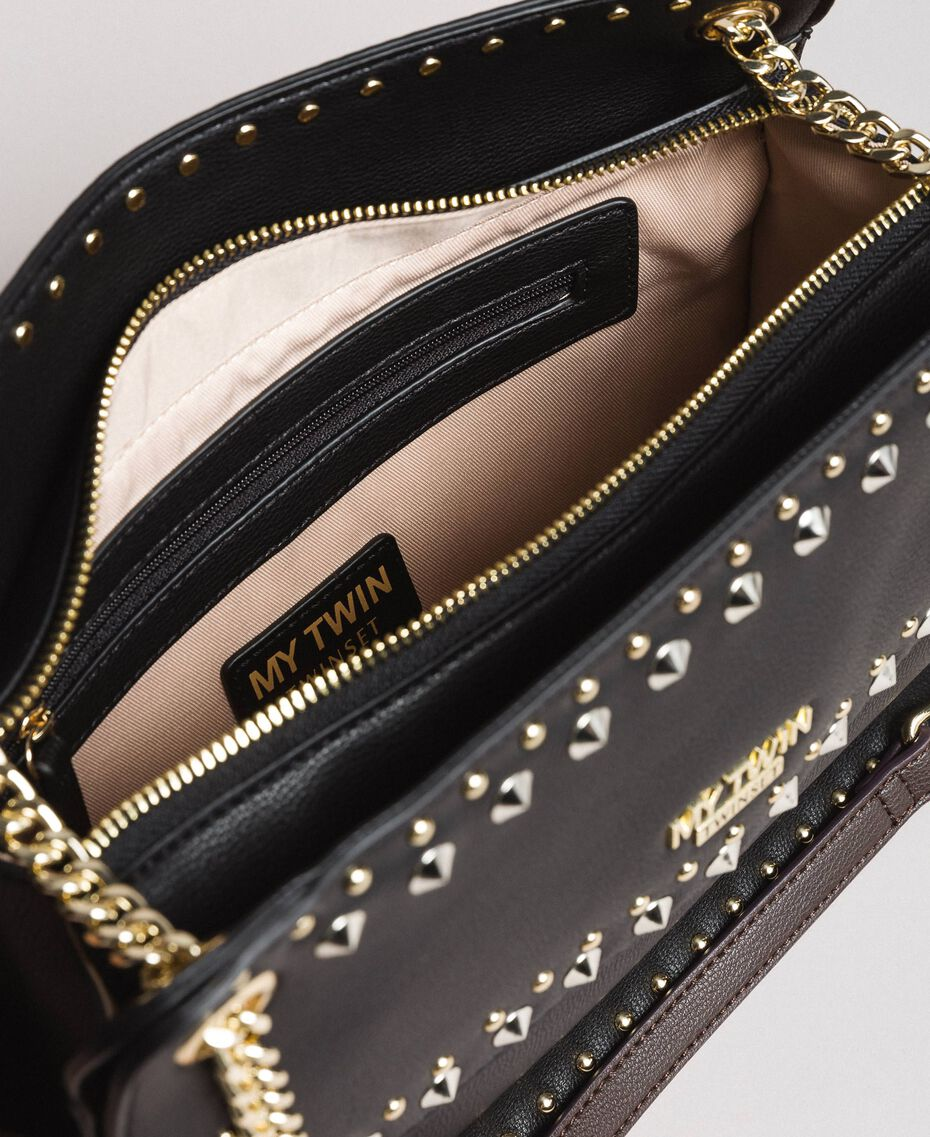 """Faux leather shoulder bag with studs """"Surreal Pink"""" Woman 191MA7141-05"""