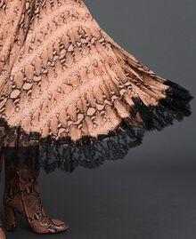 Animal print pleated midi skirt Canyon Pink Python Print Woman 192TT2274-04