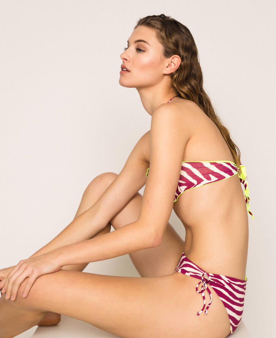 Bikini bottom with drawstring and print Flirty Rose Zebra Print Woman 201LBMG99-01