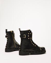 Кожаные ботинки-амфибии с заклепками Черный женщина 999TCP020-04