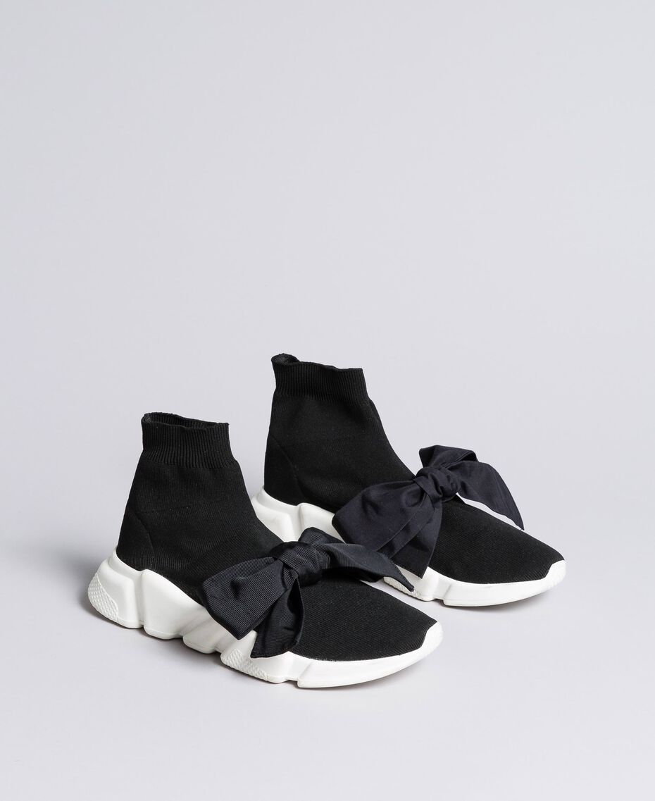 Baskets avec grand nœud Noir / Noir Femme DA8PSA-02