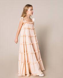 "Full-length muslin and satin gown ""Ice"" Dark Blue Child 201GJ2Q40-02"