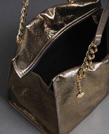 Reisetasche aus Lederimitat in Glitzeroptik Gold Gelb Frau 192LL7ZFF-04