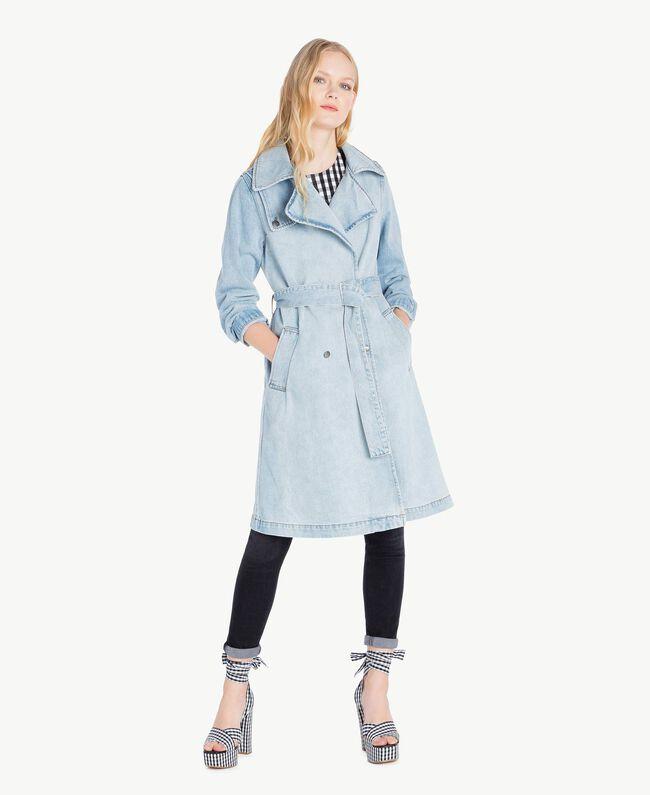 Denim trench coat Denim Blue Woman JS82TZ-01