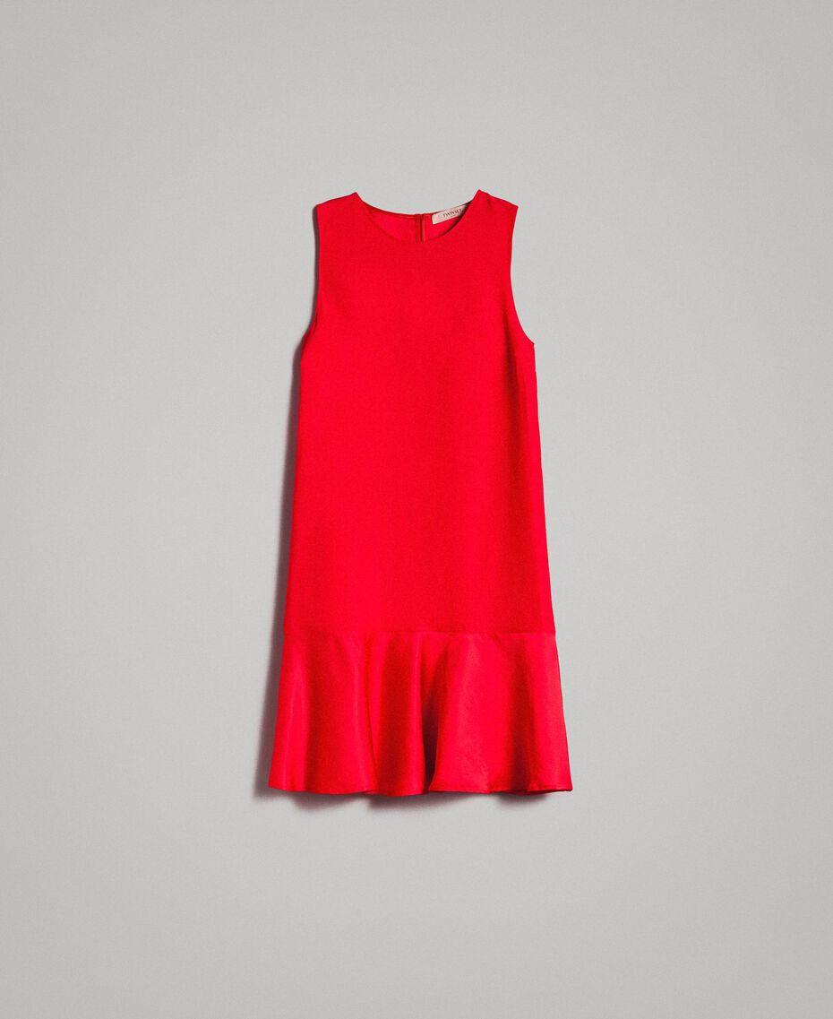 """Leinen-Kleid aus Enver-Satin mit Volant """"Lipstick Red"""" Rot Frau 191TT2304-0S"""