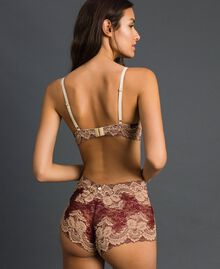 Two-tone lace shorts Purple Red / Warm Beige Woman 192LL6D99-03