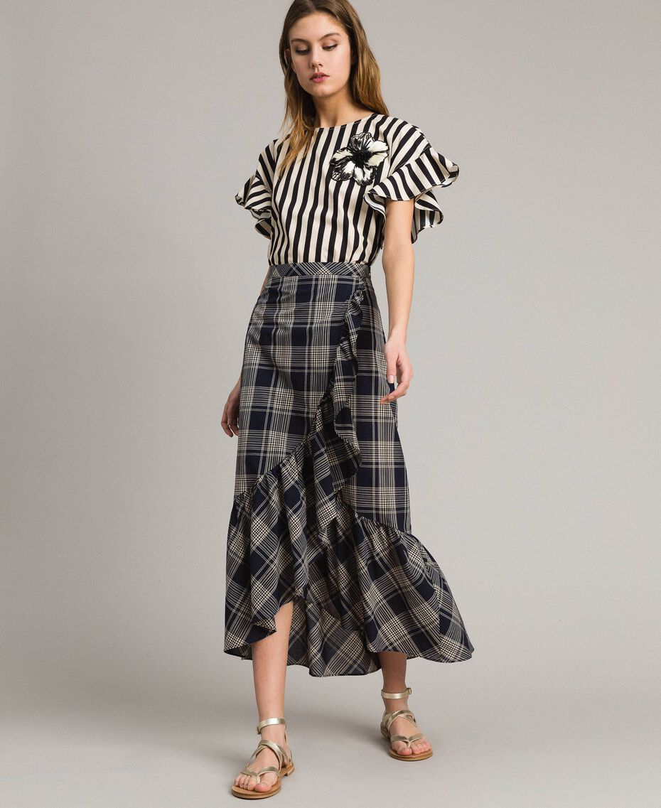 Long check cotton skirt Blue Shadow Check Jacquard Woman 191ST2133-01