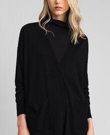Maxi cardigan en laine mélangée Noir Femme 192ST3161-02