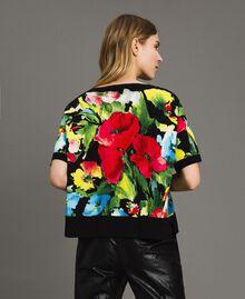 Flower print boxy top Macro Flower Black Print Woman 191TT3182-04