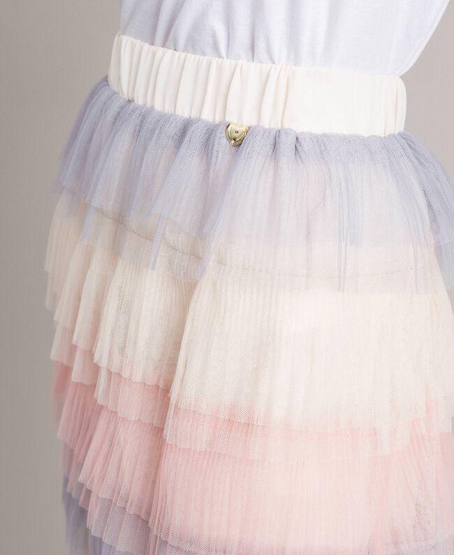 Long jupe plissée à volants Multicolore Tulle Femme 191MP2232-01
