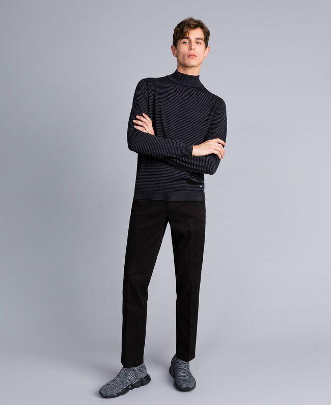 Pantalon en gabardine de coton Noir Homme UA82CN-01