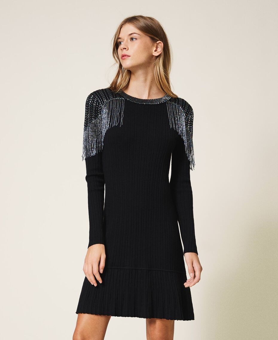Ribbed knit dress with fringes Black Woman 202TT3211-01