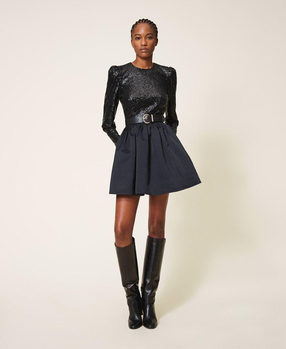 Minifalda de duquesa Negro Mujer 202TP2453-01