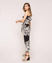 Combinaison en popeline florale Imprimé Fleur Graphique Noir Femme 201TT2314-02