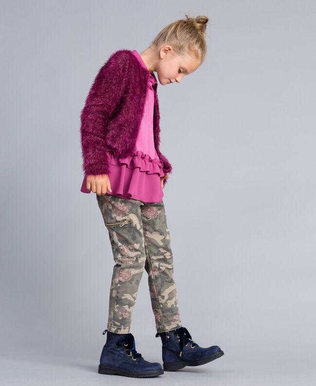 Cardigan en point fourrure Violet Raisin Doux Enfant GA83D3-03