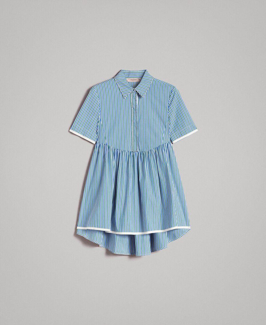 """Blouse à rayures avec strass Rayures Bleu Bleuet / Vert """"Evergreen"""" Femme 191TP2310-0S"""