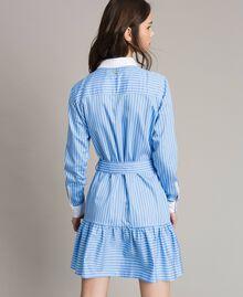 Popeline-Hemd-Kleid mit Stickerei Kornblumen Blau Frau 191MP2043-04
