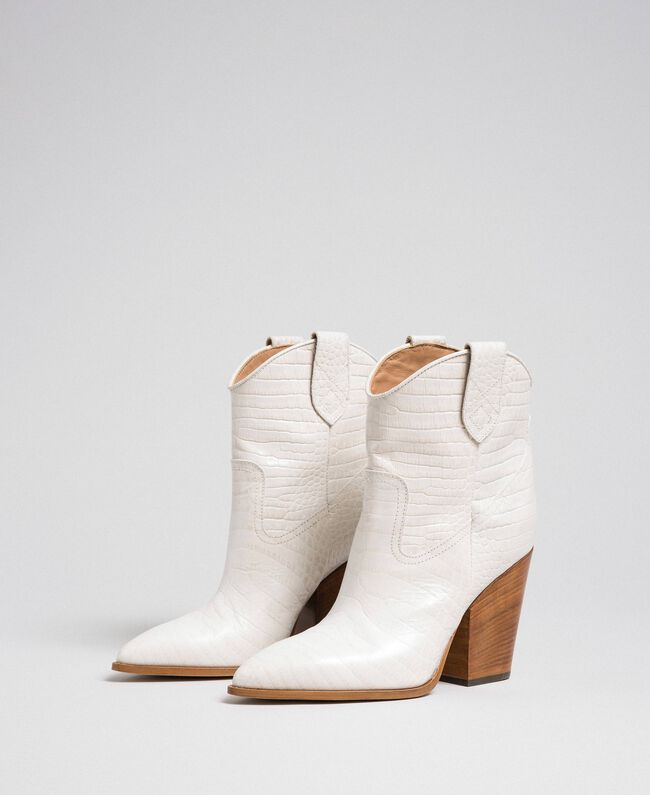 "Leather ankle boots with crocodile print ""Snow"" White Crocodile Print Woman 192TCT024-01"