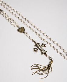 Rosary necklace with heart, cross and tassel White Snow Woman 192TO530A-02